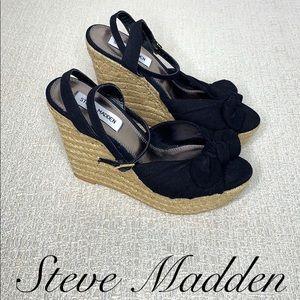 STEVE MADDEN BLACK PLATFORM WEDGE SANDALS SIZE 7